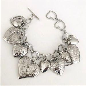 Silver Cluster Heart Charm Bracelet💕